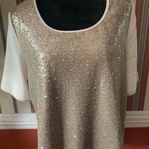 Gibson Latimer White Silver Sequin Top